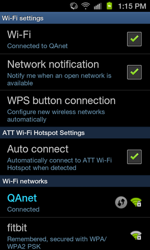 Modification de réseau sur un appareil Android: Paramètres Wi-Fi