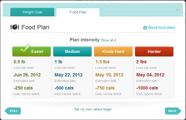 how to set daily calorie goal on fitbit
